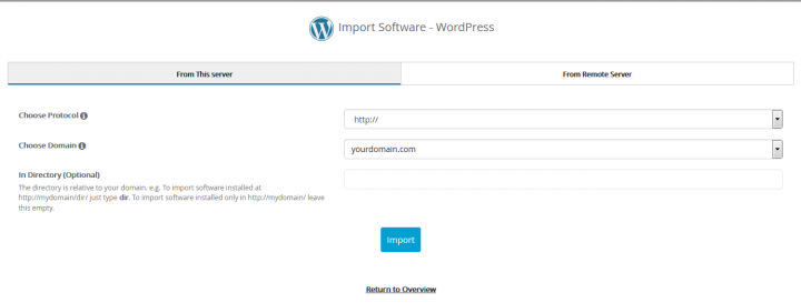 Softaculous WordPress Import Screen
